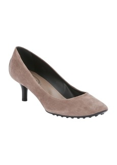 Tod's grey suede rubber sole kitten pumps