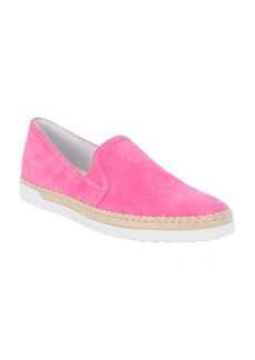 Tod's hot pink suede slip-on espadrill...
