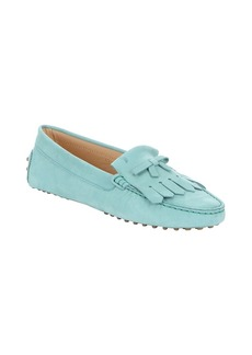 Tod's light blue nubuck fringe driving...