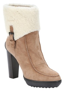 Tod's light brown suede and shearling ...