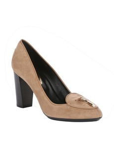Tod's light brown suede tassel bow pumps
