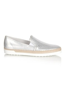 Tod's Metallic leather trainers