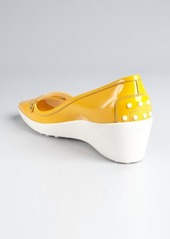 Tod's mustard patent leather cutout buckle strap loafer wedges