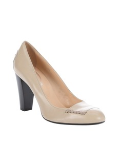 Tod's natural beige leather block heel...