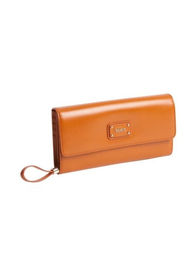 Tod's orange calfskin multi-card continental wallet