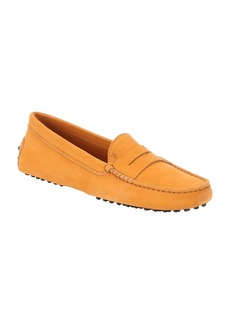 Tod's orange suede penny driving loafers