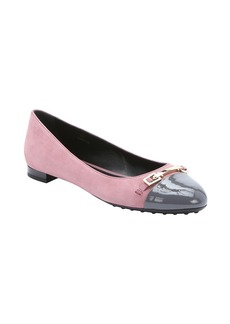 Tod's pink and grey suede cap toe ball...