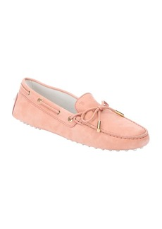 Tod's pink nubuck bow tie driving loafers