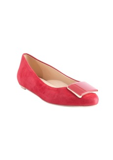 Tod's pink suede square emblem pointed...