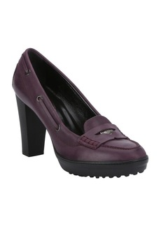 Tod's purple leather logo penny strap ...
