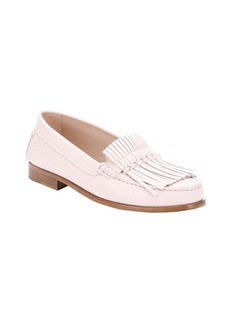 Tod's rose pink leather fringe moccasi...