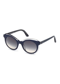 Tod's Round Clear-Trim Plastic Sunglasses