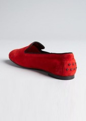 Tod's ruby suede pebbled heel slip-on loafers