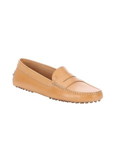 Tod's tan leather penny driving loafers