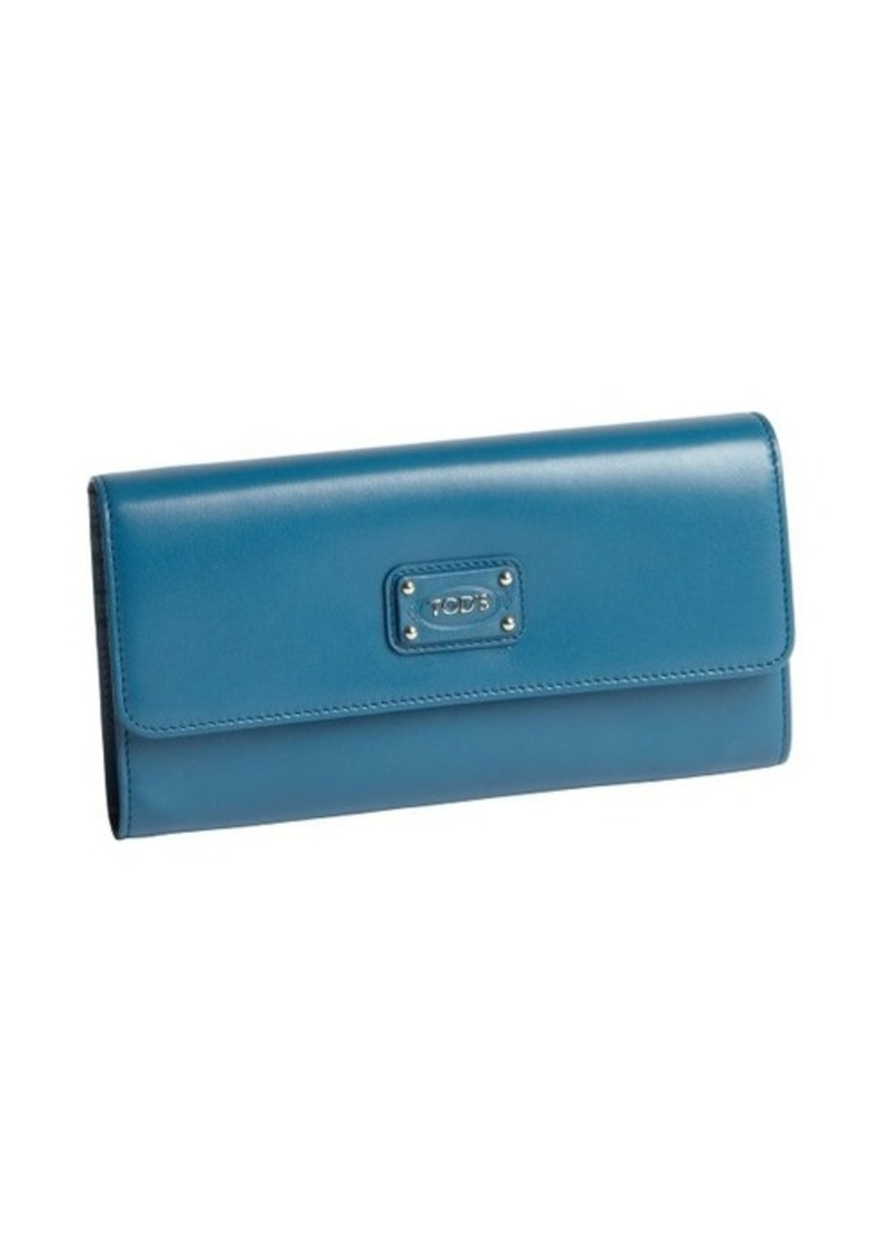 Tod's turquoise calfskin multi-card continental wallet
