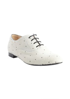 Tod's white and black calf hair dot pa...