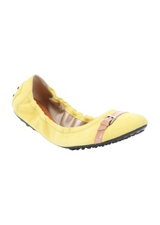 Tod's yellow suede buckle strap packab...