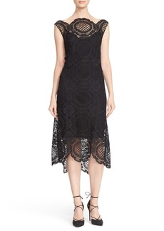Tracy Reese Crochet Lace Scalloped Hem Midi Dress