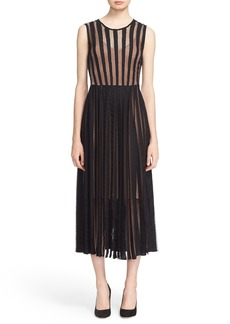 Tracy Reese Flared Stripe Lace Dress