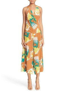 Tracy Reese Floral Print Crop Silk Jumpsuit