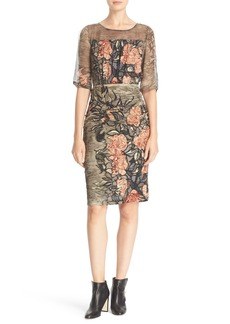 Tracy Reese Floral Print Stretch Silk Blouson Dress