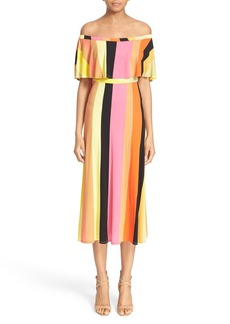 Tracy Reese Off the Shoulder Stripe Jersey Dress