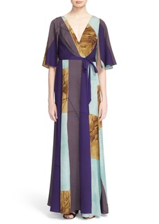 Tracy Reese Print Stretch Silk Wrap Kimono Maxi Dress