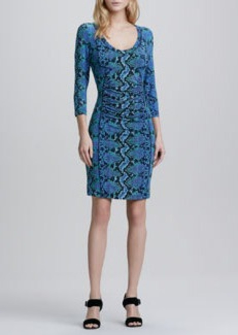 Tracy Reese Python-Print 3/4-Sleeve Jersey Dress