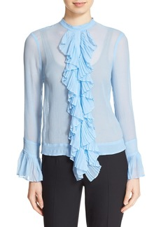 Tracy Reese Ruffle Front Crinkled Silk Georgette Blouse