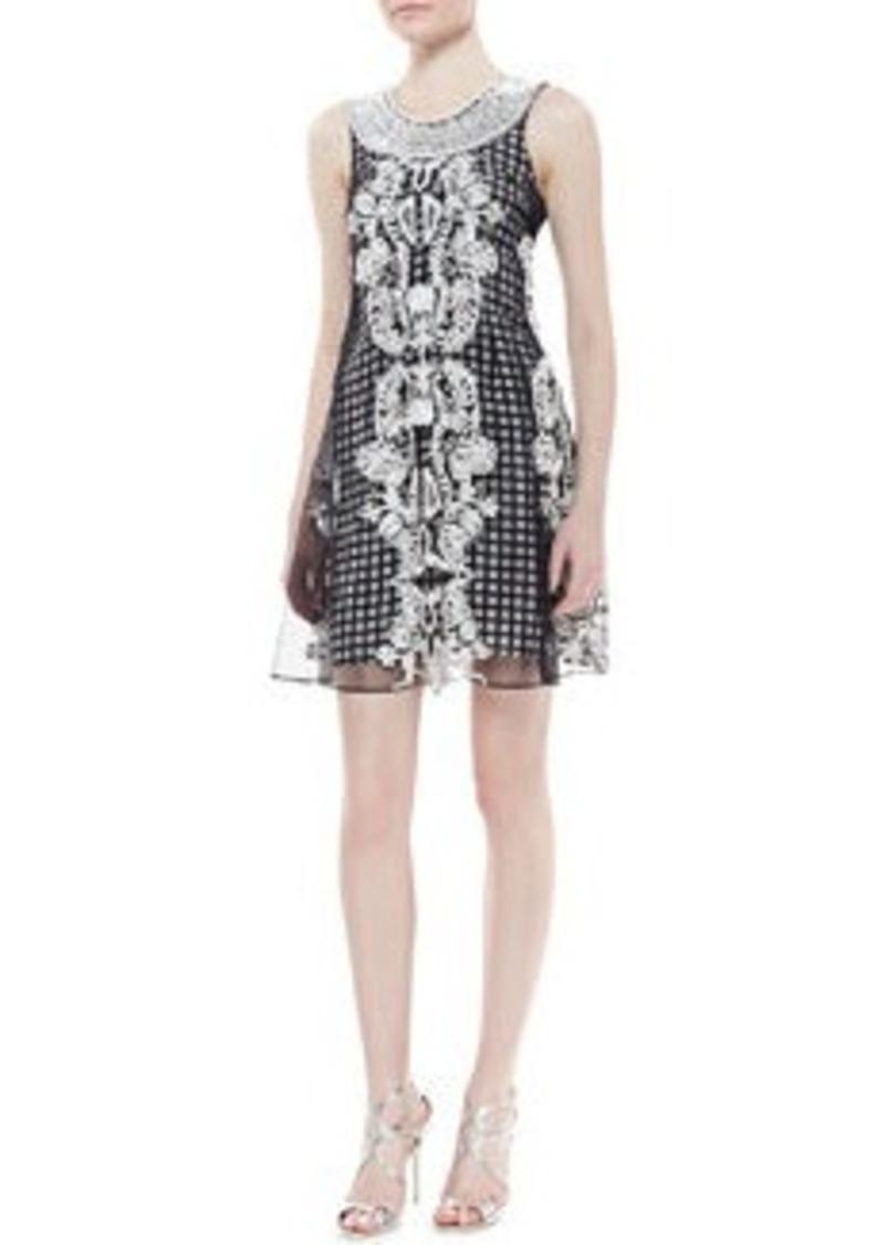 Tracy Reese Sleeveless Beaded Neck Trapeze Dress, Black/White
