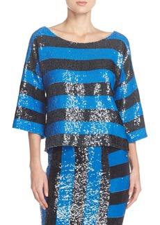 Tracy Reese Stripe Sequin Top